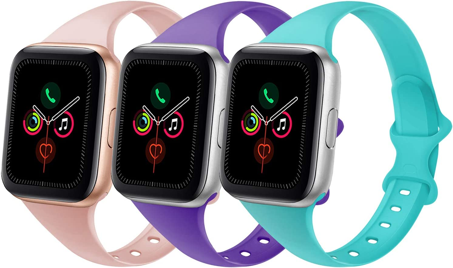 DYKEISS Sport Slim Silicone Band Compatible for Apple Watch Band 38mm 42mm 40mm 44mm, Thin Soft Narrow Replacement Strap Wristband for iWatch Series 5/4/3/2/1 (Sand Pink/Purple/Teal, 38mm/40mm)