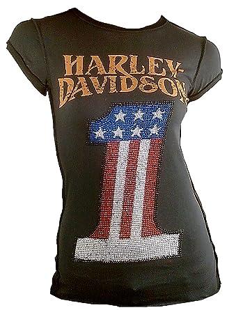 318f35fdba9f6d H D CLASSIC Damen T-Shirt Anthrazit Official HARLEY DAVIDSON Merchandise Number  One 1 Strass USA