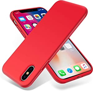 OTOFLY for iPhone X Case, [Silky and Soft Touch Series] Premium Soft Silicone Rubber Full-Body Protective Bumper Case Compatible with Apple iPhone X(ONLY) - Red