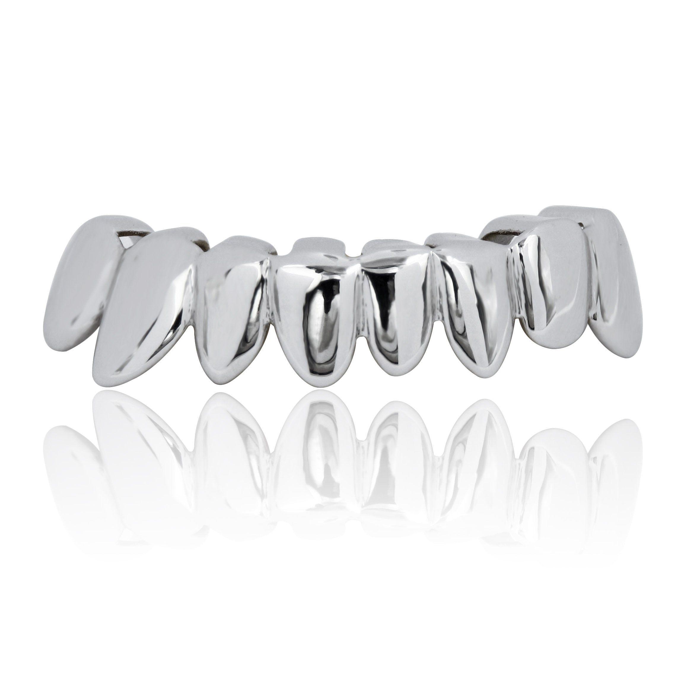 JINAO Silver Plated HQ PRE-Made Unique Hip Hop Bottom Teeth Grillz Set by JINAO
