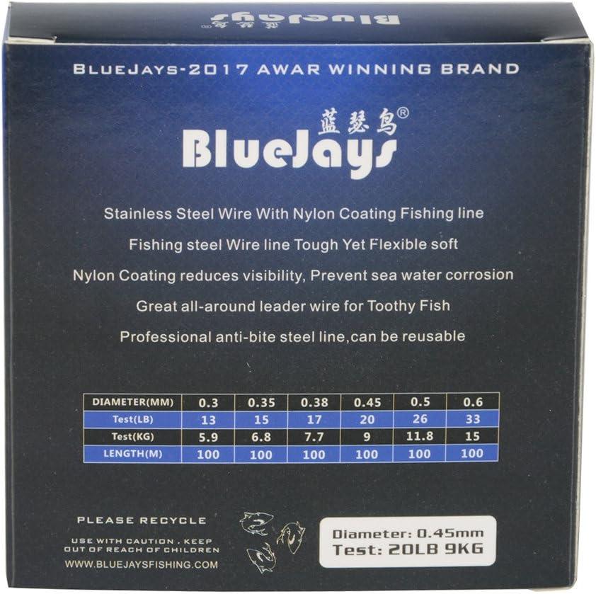 Bluejays 100/metres P/êche Fil dacier Lignes Fil de p/êche en Nylon Enduit 1/x 7/Fils en Acier Inoxydable Leader de Fils
