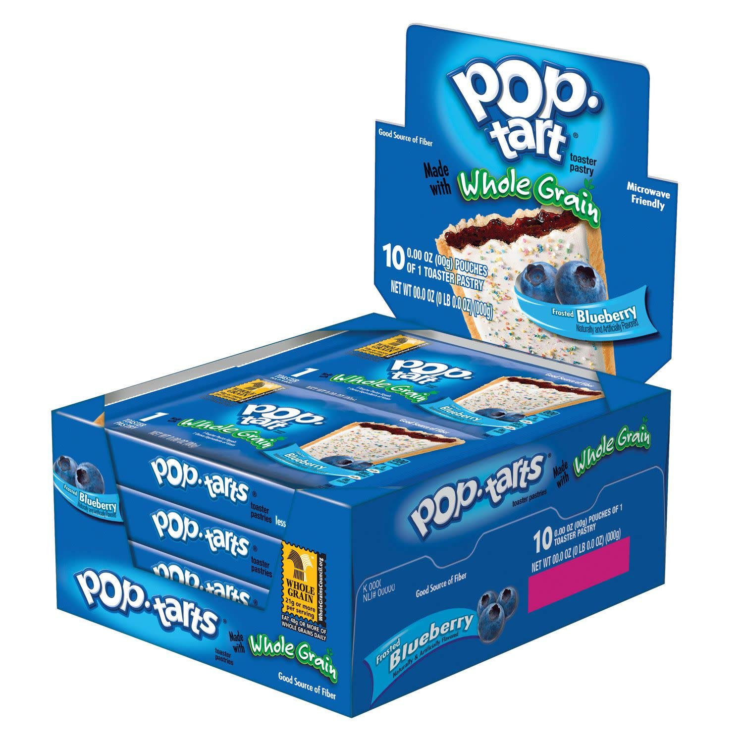Pop-Tart Made with Whole Grain, Toaster Pastries, Frosted Blueberry, 1.76oz (120 Count)