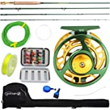 Sougayilang Fly Fishing Rod Reel Combos with Lightweight Portable Fly Rod and CNC-machined Aluminum Alloy Fly Reel,Fly Fishin