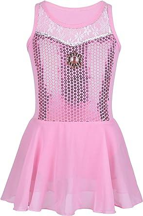 IEFIEL Vestido de Danza Maillot Ballet Princesa Tut/ú para Ni/ña con Encaje Floral sin Mangas Algod/ón