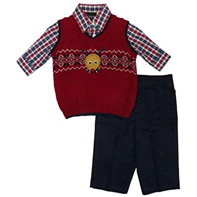 Amazon.com: TFW Infant Toddler Boy Reindeer Sweater Vest 3-Piece ...