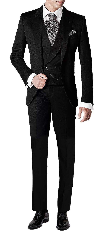 Suit Me Men's Vintage Dinner Suits 3 Pieces Wedding Tuxedos Jacket Vest Trousers Peak Lapel