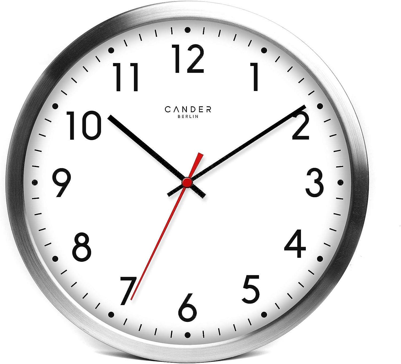 Reloj de pared de aluminio, silencioso, 30,5 cm, de la marca Cander Berlin MNU 2030