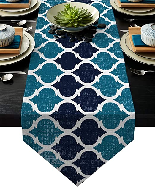 Floral Print Tassel Embroidery Table Runner Rectangle Table Cloth Party Decor J