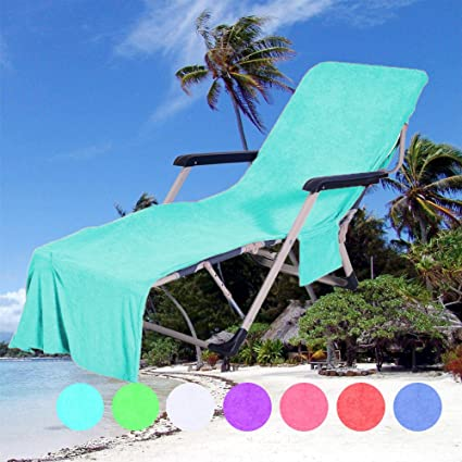 DoMii Lounge Chair Beach Towel Cover Recliners Towel With Side Pockets For  Holidays Sunbathing 82.5u0026quot;