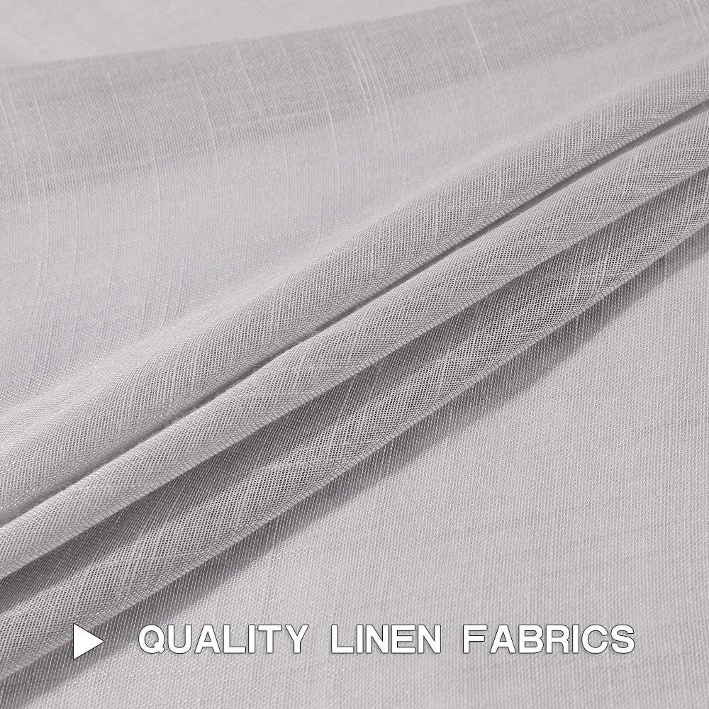 52X45 Inch MIULEE 2 Panels Natural Linen Semi Sheer Window Curtains Elegant Solid White Drapes Grommet Top Window Voile Panels Linen Textured Panels for Bedroom Living Room