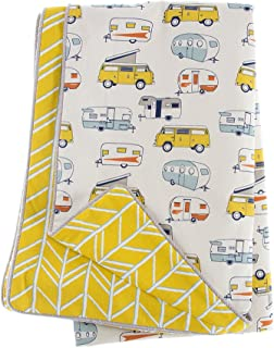 product image for Glenna Jean Happy Camper Full/Queen Duvet, Yellow Chevron
