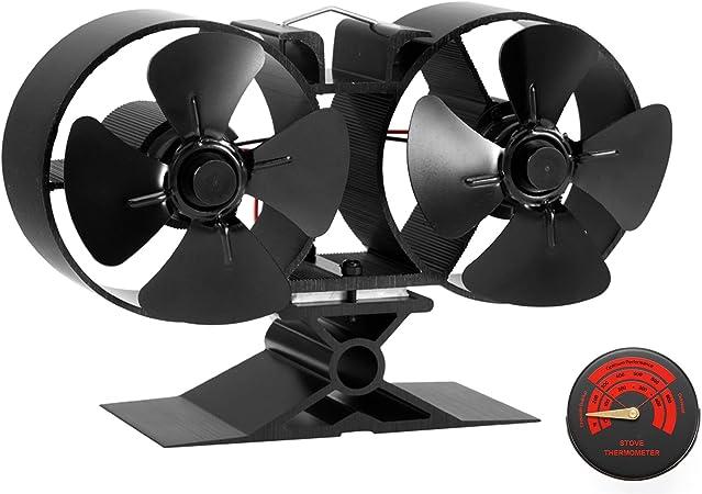 CRSURE SF-T84 Mini ventilateur de po/êle /à bois 8/pales aliment/é par la chaleur Double moteur Noir