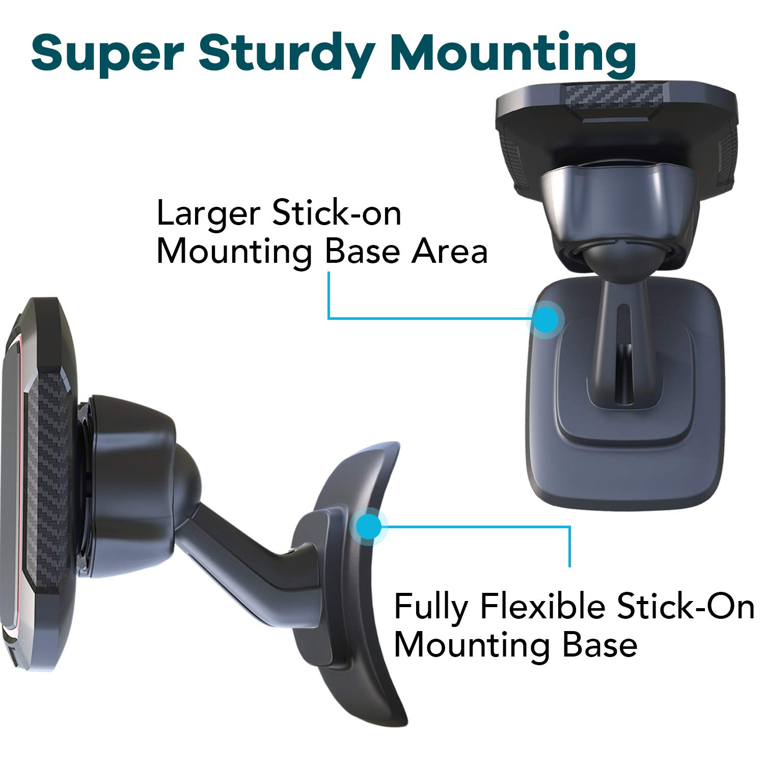 Powered by 6 Strong Magnets Magnetic Phone Car Mount Cell Phone Holder for Car by OQTIQ Super Sturdy Magnetic Dash Car Phone Mount