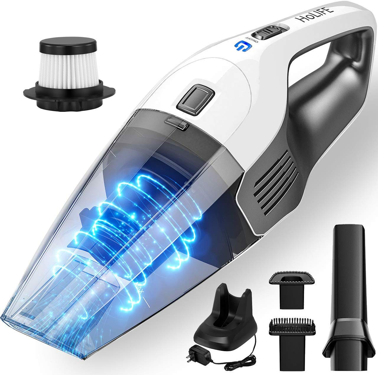 Holife 7000Pa Powerful Handheld Vacuum Cordless Cleaner Rechargeable, 30mins Hand Vacuum with Diploid HEPA Filtration, Lightweight Wet Dry 14.8V Lithium Hand Vac for Home Pet Hair Car Cleaning