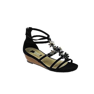 XTI Damen Sandale Leder Schwarz mit Steinen
