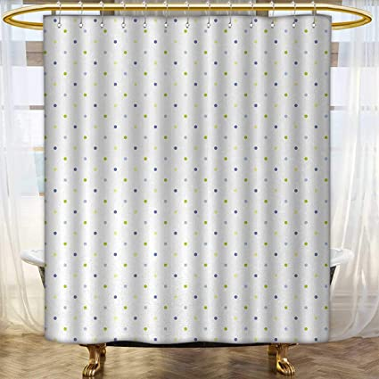 Anhounine Retro Shower Curtains Mildew Resistant Small Polka Dots On A White Background In Pastel Colors