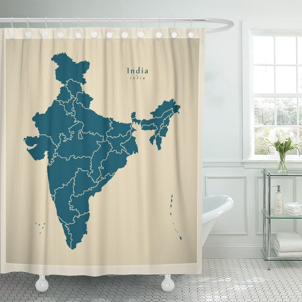 TOMPOP Shower Curtain City Modern Map India with Federal States in Mumbai Waterproof Polyester Fabric 60 x 72 Inches Set with Hooks