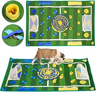 "SlowTon Dog Snuffle Mat, Pet Training Pad Non Slip Feeding Nose Work Blanket Puppy Natural Foraging Skills Stress Release Soft Interactive Food Dispenser Toy (39.3"" x 25.5"")"