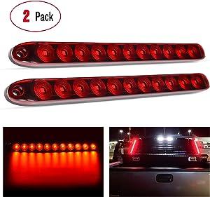 "Nilight 2PCS 16"" 11 LED Red Trailer Light Bar for Park Stop Turn signals Tail Brake Light DOT Compliant IP65 Waterproof Truck Trailer Marker ID Bar, 2 Years Warranty"