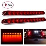 "Nilight - TL-10 2PCS 16"" 11 LED Red Trailer Light Bar for Park Stop Turn signals Tail Brake Light DOT Compliant IP65…"