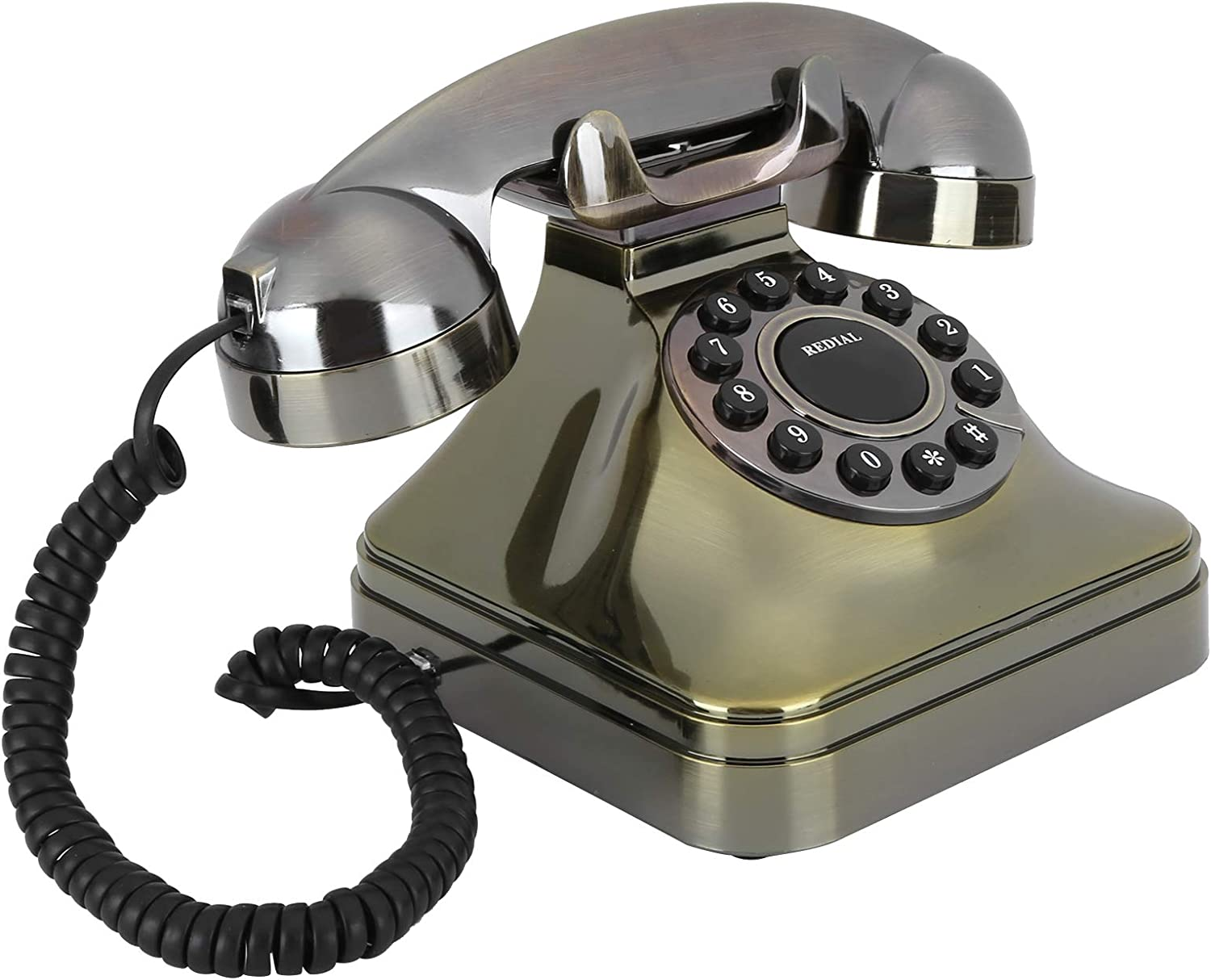 Garsentx Old-fashioned roulette landline phone Antique Bronze Telephone Vintage modelling antique style Portable Home Decoration Telephone Gift for an old man