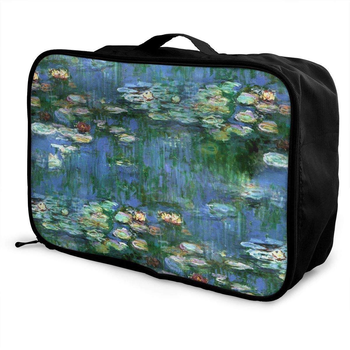 Portable Luggage Duffel Bag Lilies Claude Monet Water Lilies Travel Bags Carry-on In Trolley Handle
