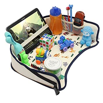 Kids Travel Play Tray Car Seat Activity Waterproof Food Snack With Tablet