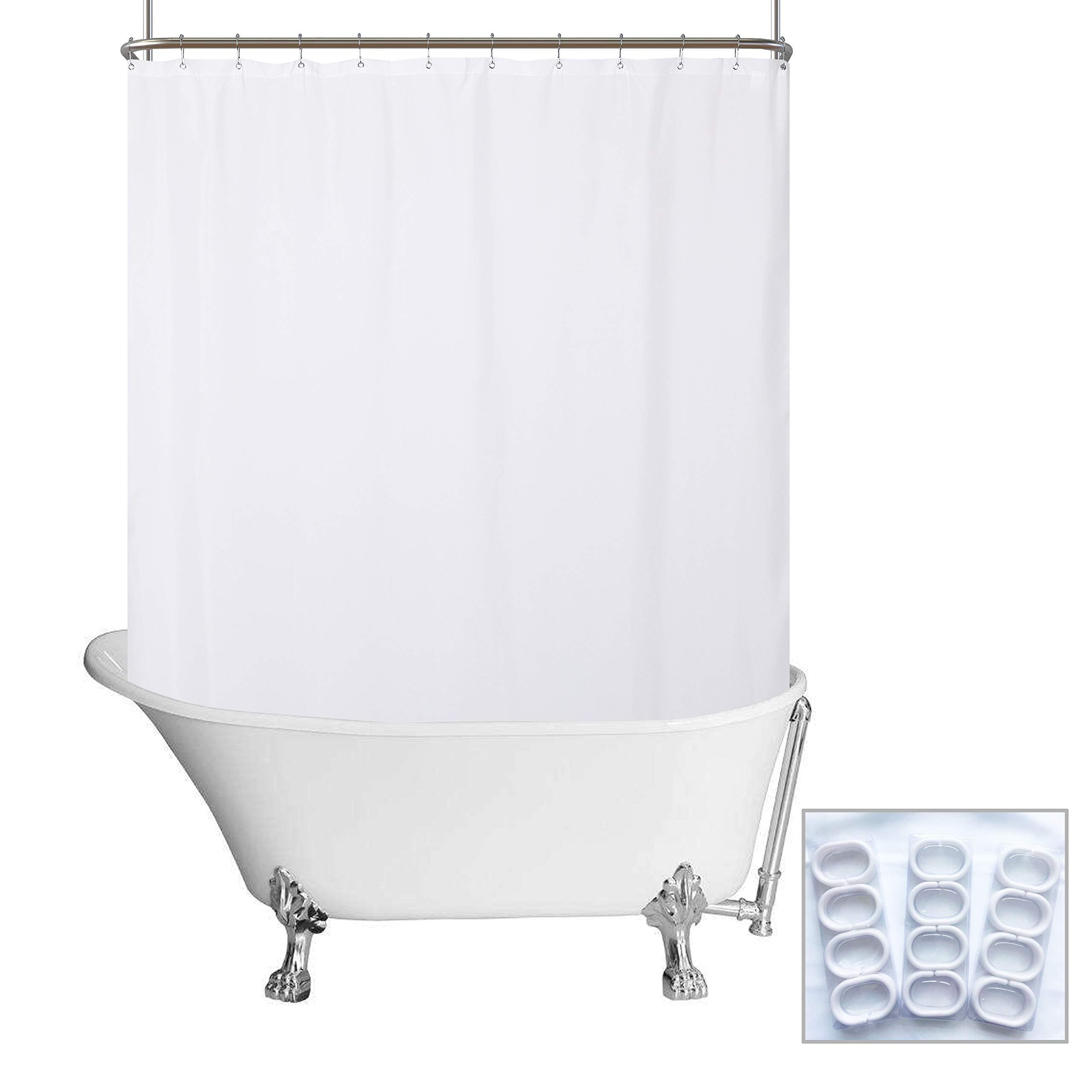N&Y HOME Waterproof Fabric Clawfoot Tub Shower Curtain 180 x 70 inch All Wrap Around - 36 Hooks Included, Breathable Fabric, Machine Washable - White, 180x70