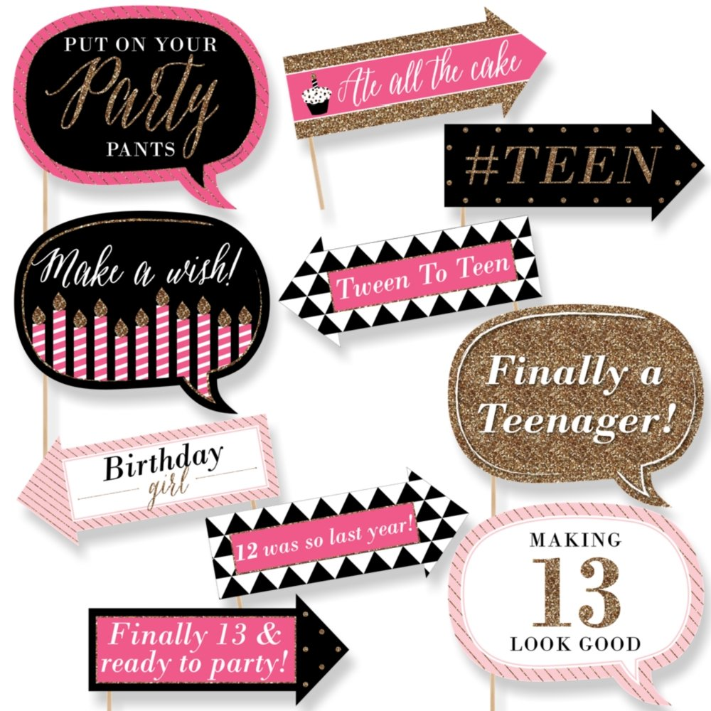 Amazon.com: Funny Chic 13th Birthday - Pink, Black and Gold ...