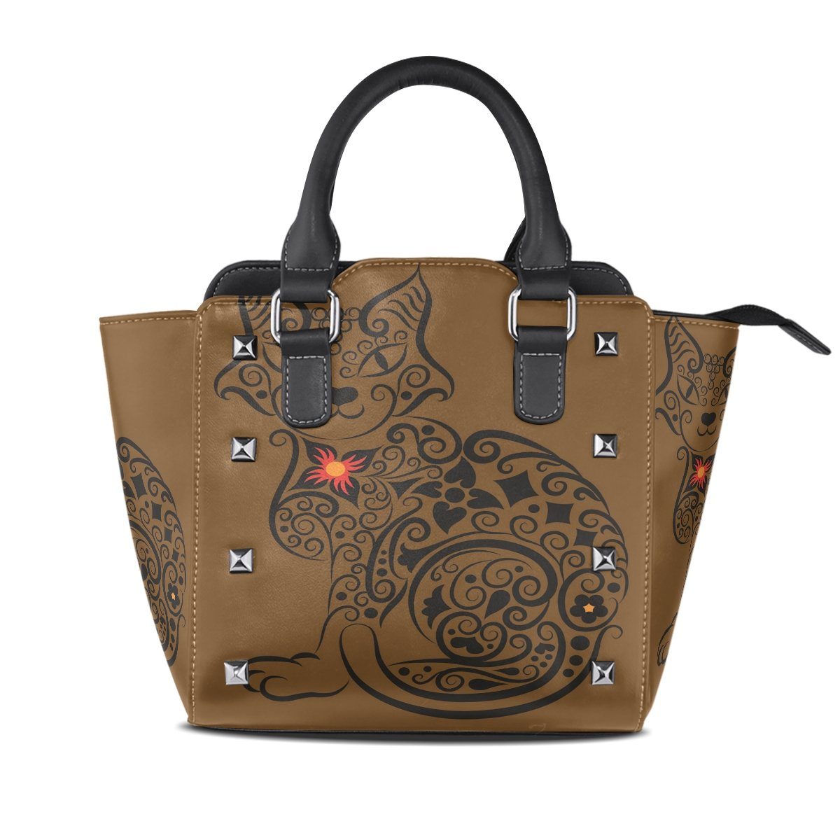 Ladies Genuine Leather Tote Bags Brown Cat Womens Hangbags Shoulder Bags