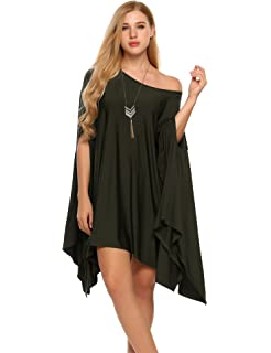 8a30c938d0d SoTeer Women Sexy Off Shoulder Asymmetric Loose Batwing Blouse Cape Tunic  Tops