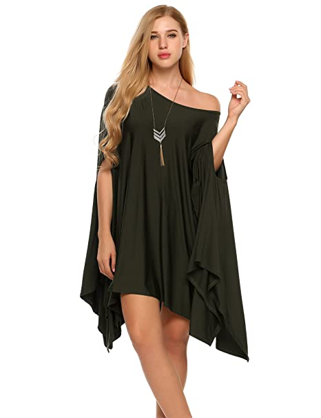 a4e99ca38b2af SoTeer Women Sexy Off Shoulder Asymmetric Loose Tunic Tops Batwing Scoop  Neck Blouse Cape (Large