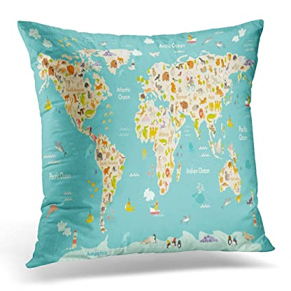 Amazon Golee Throw Pillow Cover Map Animal For Kid Continent Of Best South Seas Decorative Pillows