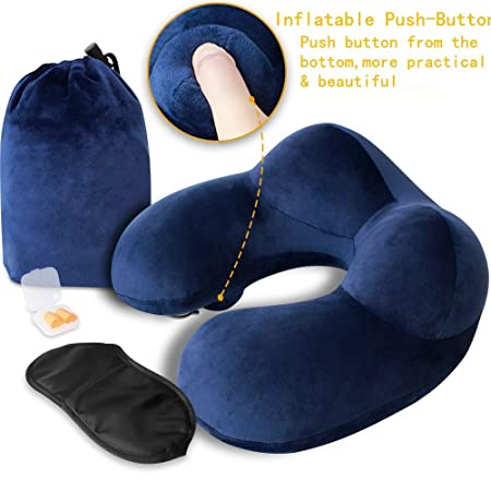 Almohada de viaje, jxzh botón forma de U almohada cervical ...