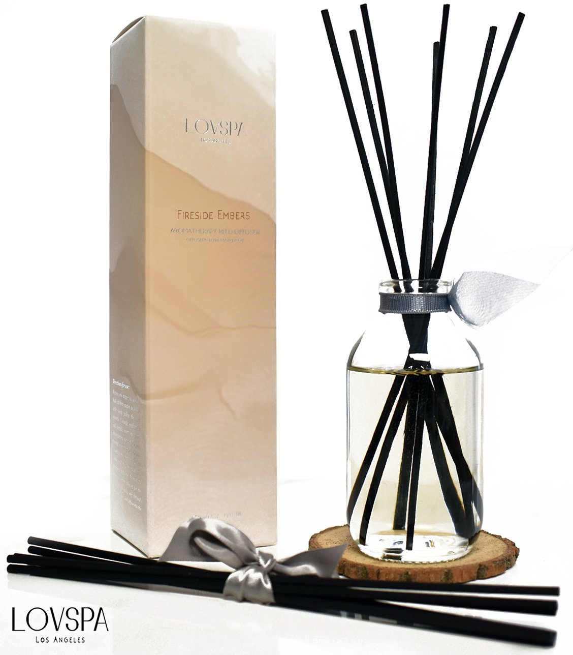 LOVSPA Romantic Smokey Fireside Embers Reed Diffuser Set by Includes a Wood Slice Coaster! Glowing Embers, Wood Smoke, Saffron Suede & Amber Cognac | A Masculine Scent | Gift for Dad or Husband!