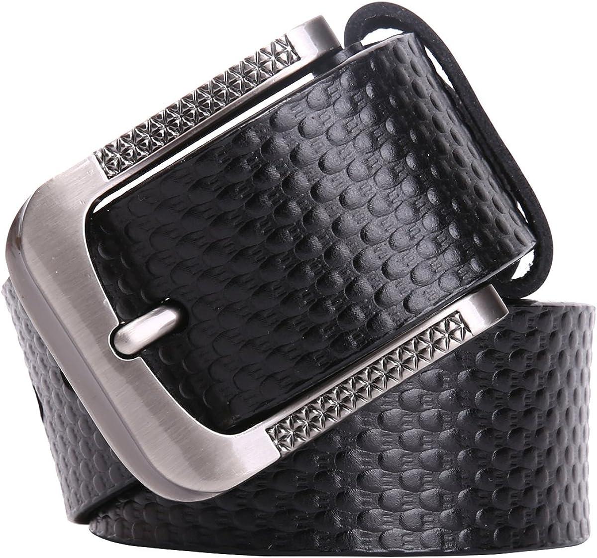 Taschland Cinturón Piel para Hombres/caballero con Hebilla Metal