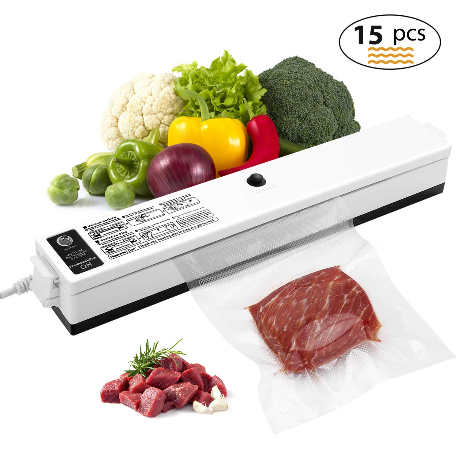 Vacuum Sealer, Etrigger Automatic Vacuum Sealing Machine for Both Dried and Wet Fresh Food, Suitable for Camping and Home Use with 15pcs Vacuum Sealer Bags(20 × 25cm) by Etrigger
