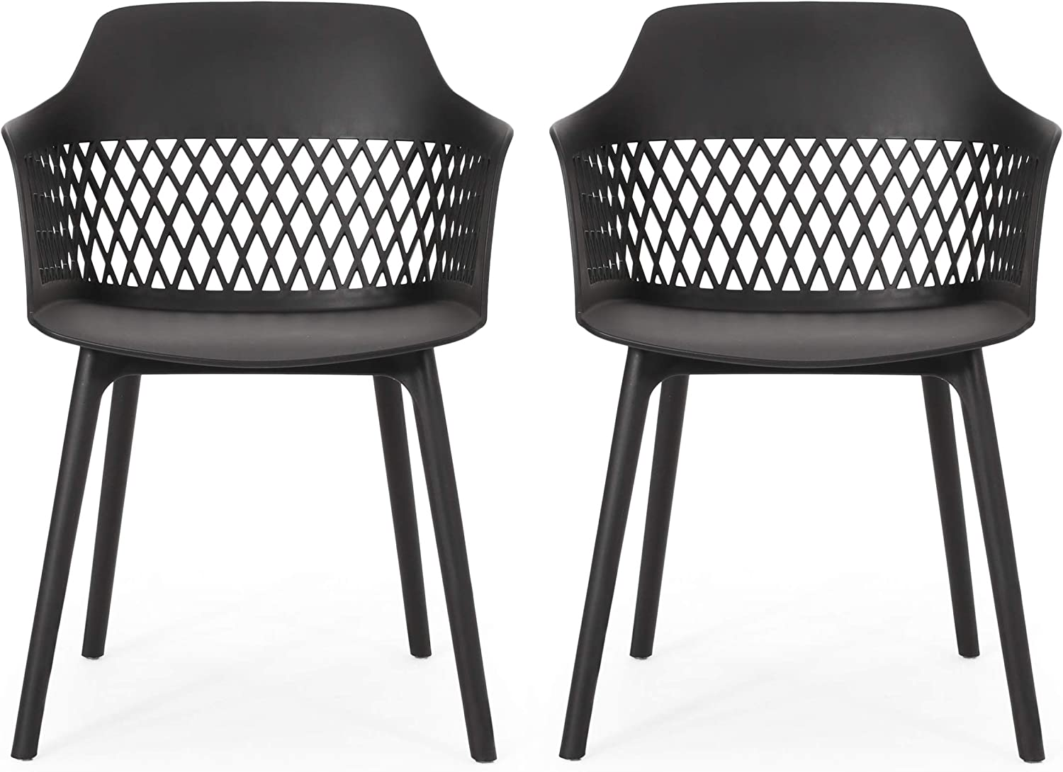 Christopher Knight Home 312178 Madeline Outdoor Dining Chair (Set of 2), Black : Garden & Outdoor