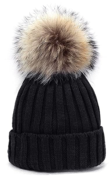 93806813c21 Odema Womens Girls Knitted Hat Real Fur Pom Pom Beanie Hats Black at ...