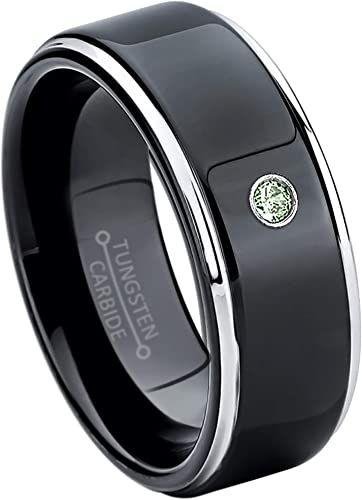 Jewelry Avalanche 8MM Polished Black IP Stepped Edge Tungsten Carbide Wedding Band 0.07ct Alexandrite Tungsten Ring June Birthstone Ring