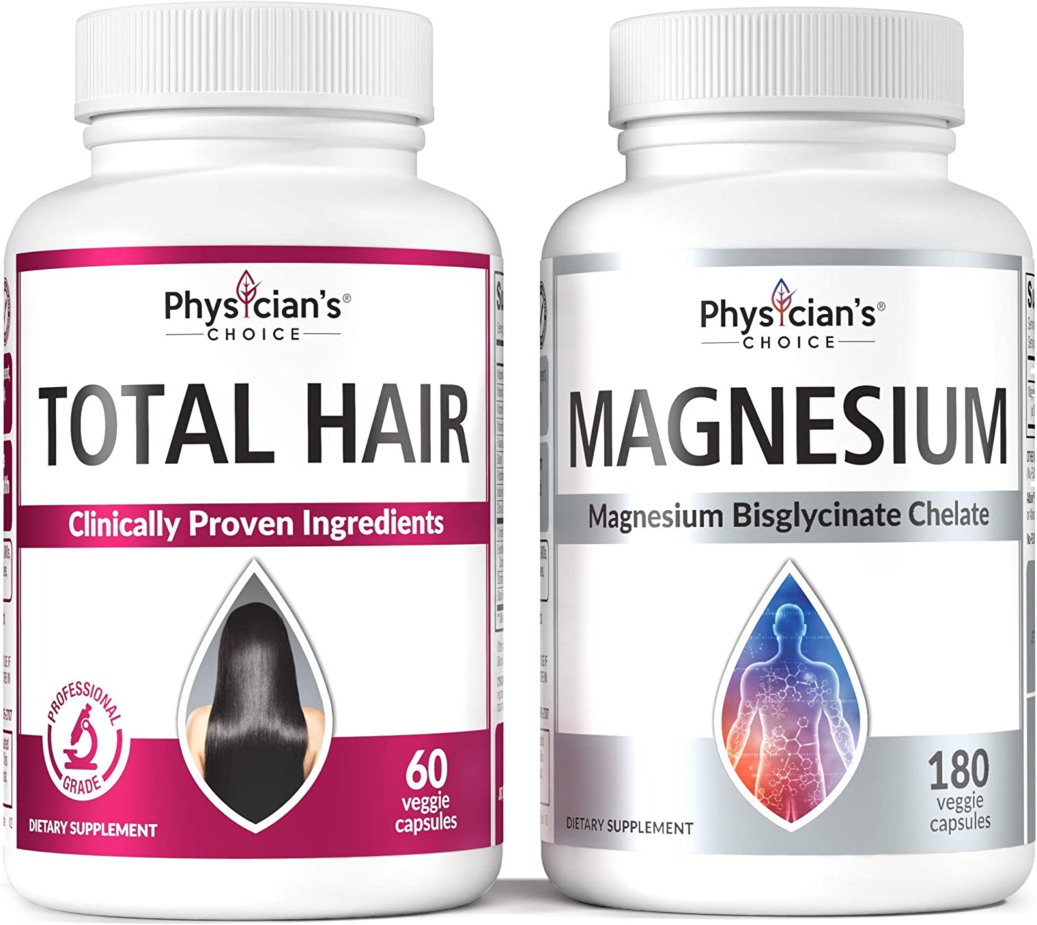 Hair Growth Vitamins (Clinically Proven Ingredients) + Magnesium Glycinate - Patented Bisglycinate