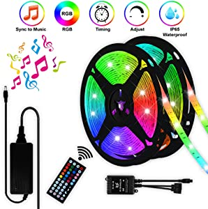 LED Strip Lights with Remote - 32.8ft IP65 Waterproof Flexible Tape Lights,Music Sync Color Changing 5050 RGB LED Light Strips Kit,Decoration Lighting for Home, Kitchen, Xmas