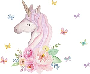 ROFARSO Colorful Unicorn Flowers Butterflies Wall Stickers Peel and Stick Removable Peel and Stick Wall Decals DIY Decorations Decor for Nursery Baby Girls Bedroom Playroom Living Room Murals