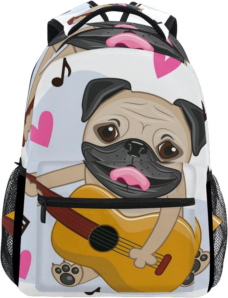 COOSUN Perro del Barro Amasado con la Guitarra Casual Mochila Mochila Escolar Bolsa de Viaje Perro del Barro Amasado con la Guitarra