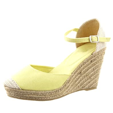 Sopily , Zapatillas de Moda alpargatas Sandalias Zapatillas de plataforma Caña baja mujer cuerda Talón Plataforma