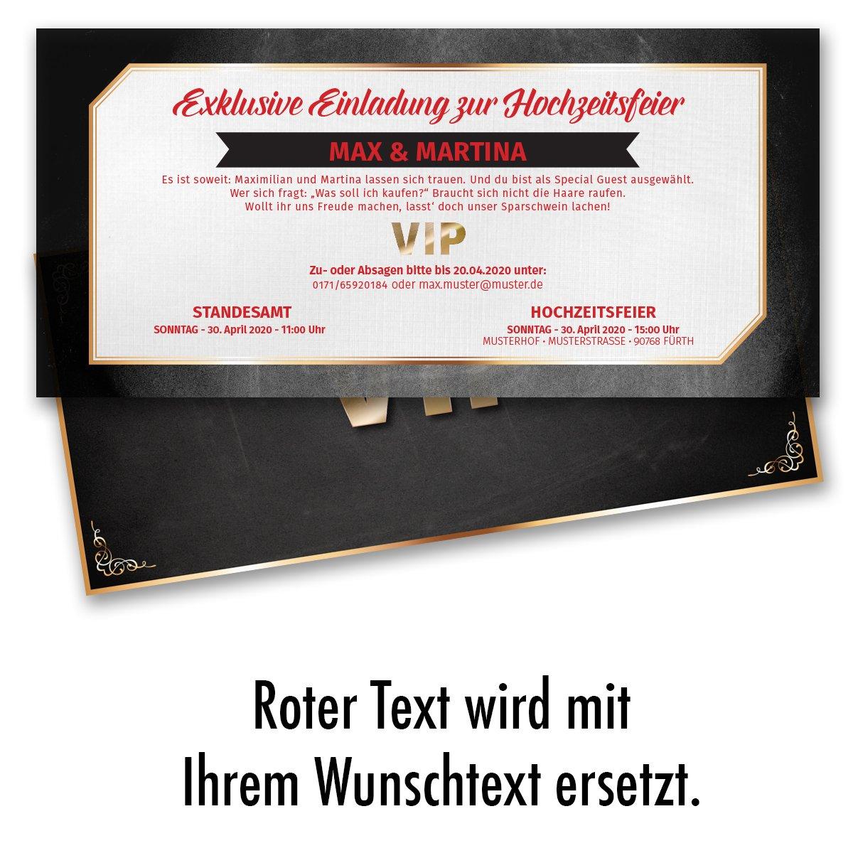 40 x) Hochzeitseinladungskarten VIP Ticket Gold edel ...