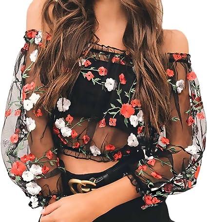 Crop Top Mujer Primavera Camisetas T-Shirt Manga Larga Transparentes Tul Sin Hombro Camisas Elegantes Vintage Moda Bordadas De Flores Blusas Camiseta Negro: Amazon.es: Ropa y accesorios
