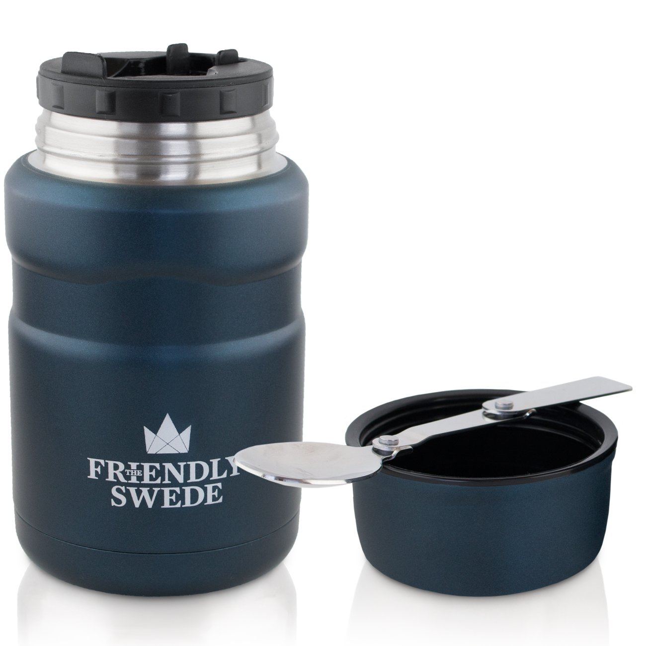 Food Jar Vacuum Insulated - Stainless Steel 16 oz. Food Flask With Folding Spoon, Cup and Storage for Travel, Camping and Hiking- by The Friendly Swede (Midnight Blue)