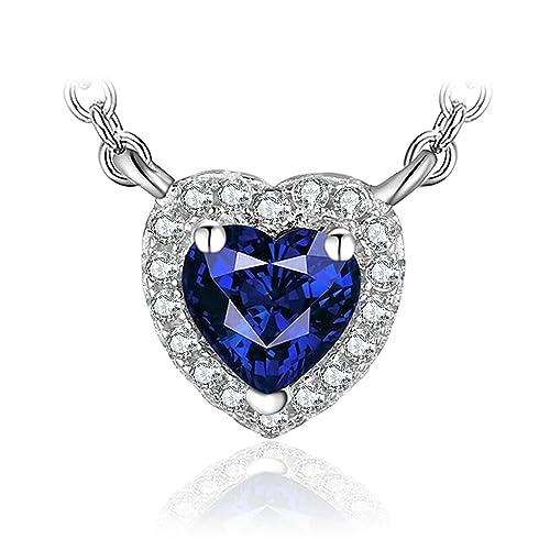 JewelryPalace Magnifique Collier avec Pendentif Coeur Bleu Femme Filles en Saphir de Synthèse 0.74ct une Chaîne en Argent Sterling 925 45cm