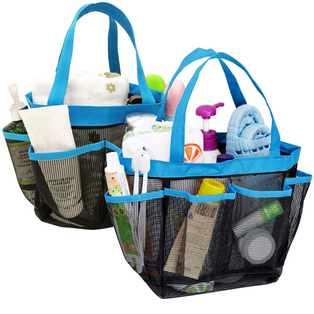 YuCool 2Pack Portable mesh Shower Caddy con 8tasche, tipo appeso Tote Bath organizer Shower organizer con 2ganci per Dorm Gym Camp Travel–blu